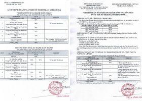 Bảng giá và phương thức thanh toán của dự án him lam green park
