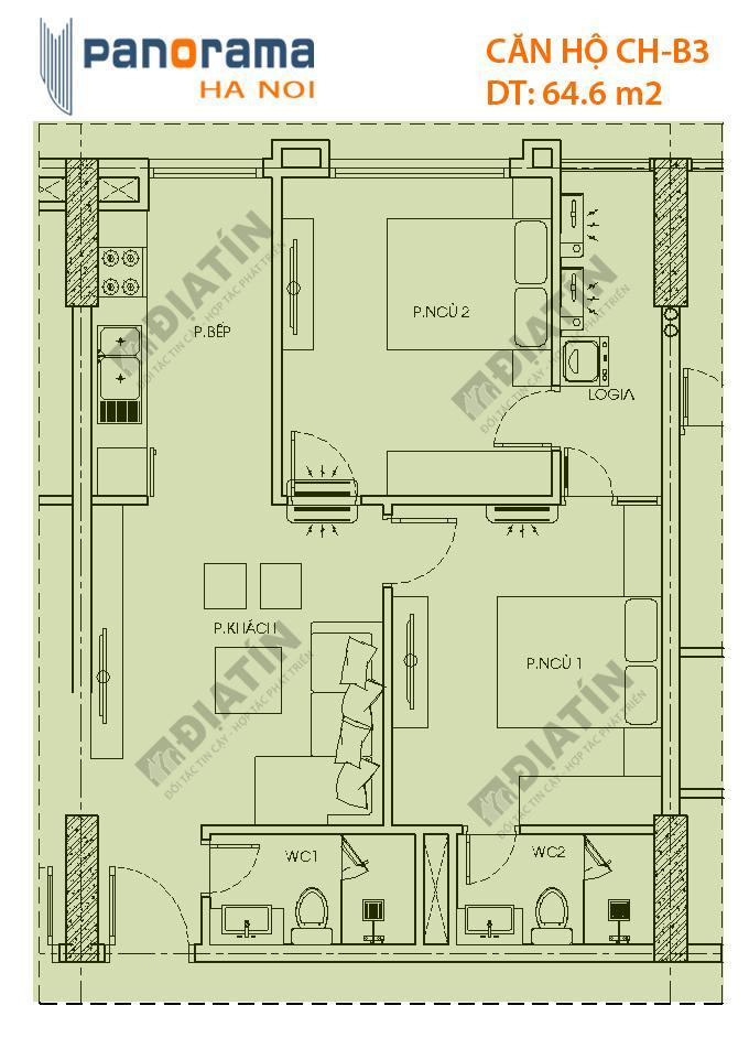 Căn 2 phòng ngủ 64m2 tòa CT1A chung cư Panorama